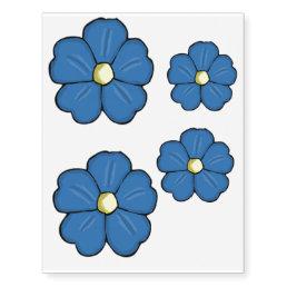 Blue pansy temporary tattoos
