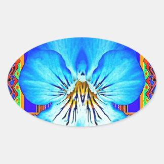 Blue Pansy Western Art Design Oval Sticker