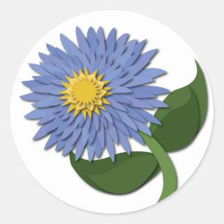 Blue Paper Flower Sticker