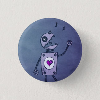 Blue Paper Robot Pinback Button
