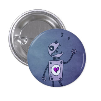 Blue Paper Robot Pinback Button