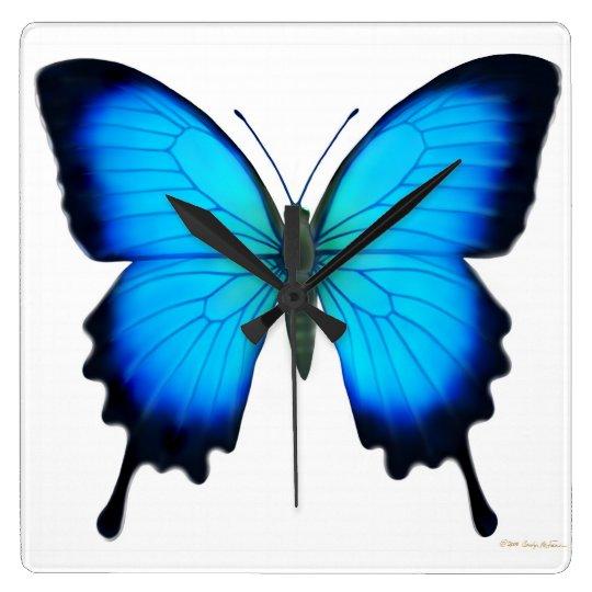 Blue Papilio Ulysses Butterfly Wall Clock Zazzle Com