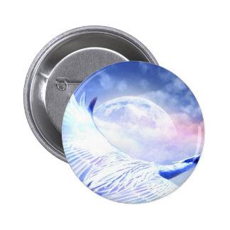 Blue Paradise Egret Bird 2 Inch Round Button