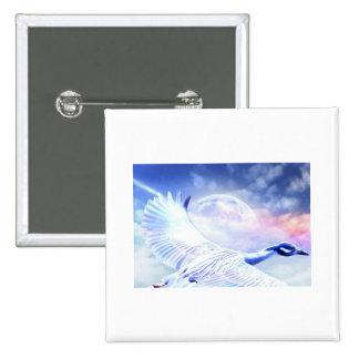 Blue Paradise Egret Bird 2 Inch Square Button
