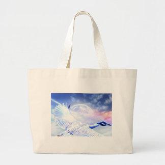 Blue Paradise Egret Bird Jumbo Tote Bag