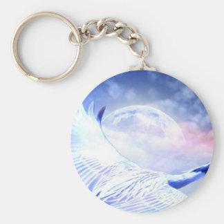 Blue Paradise Egret Bird Basic Round Button Keychain