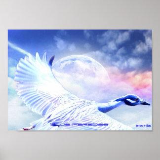Blue Paradise Egret Bird Posters