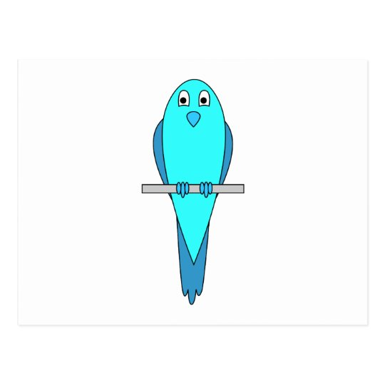 Blue Parakeet Bird Postcard