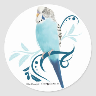 Blue Parakeet Classic Round Sticker