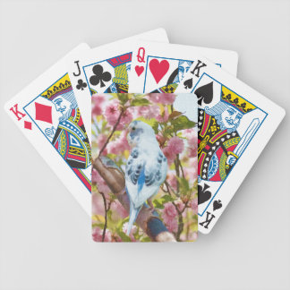 Blue Parakeet in Cherry Blossoms Playing Card