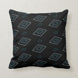 Blue parallelogram pattern black background pillow