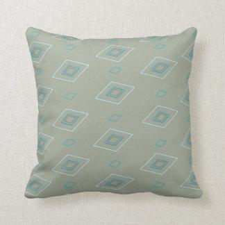 Blue parallelogram pattern light gray background throw pillow