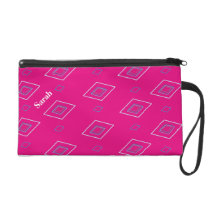 Blue parallelogram pattern pink background wristlet