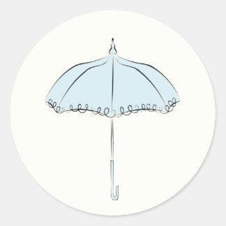 Blue Parasol Classic Round Sticker