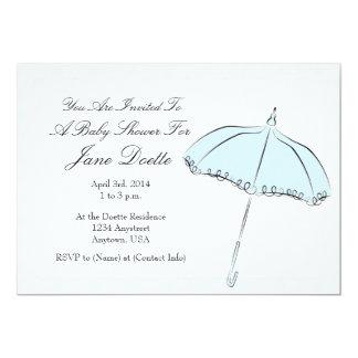 "Blue Parasol Shower 5"" X 7"" Invitation Card"