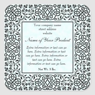 Blue Parchment Paper Style Label With Frame
