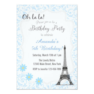Blue Paris Romantic Birthday Invitation