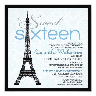 Blue Paris Sweet 16 Invitations
