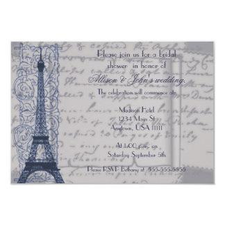 Blue Parisian Bridal Shower Invitation