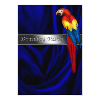 Blue Parrot Any Number Birthday Party Card
