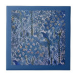 Blue Parrot in the Trees Small Square Tile