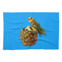 Blue parrot kitchen towel. hand towel
