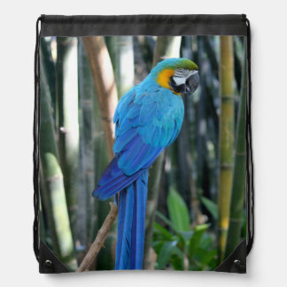 Blue Parrot photo Drawstring Bag