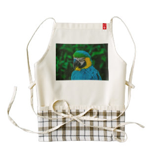 Blue parrot zazzle HEART apron