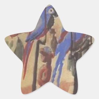Blue Parrots by August Macke Star Sticker