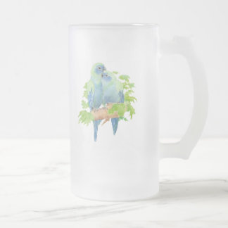 Blue Parrots Tropical Glass stein