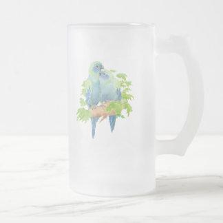Blue Parrots Tropical Glass stein Coffee Mug