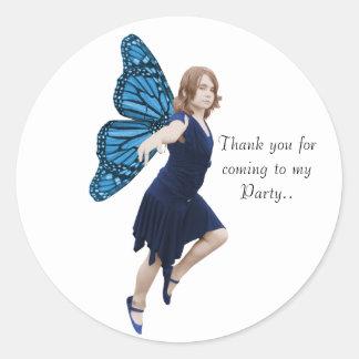 Blue party Fairy. Round Sticker