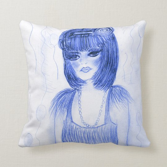 Blue Party Flapper Girl Throw Pillow