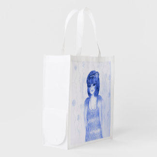 Blue Party Girl Flapper Grocery Bag