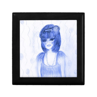 Blue Party Girl Flapper Jewelry Box