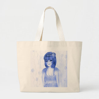 Blue Party Girl Flapper Large Tote Bag
