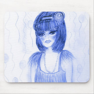 Blue Party Girl Flapper Mouse Pad
