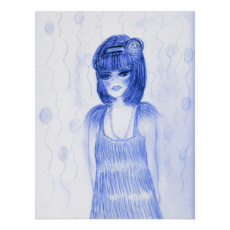 Blue Party Girl Flapper Poster