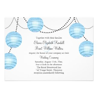 Blue Party Lanterns Wedding Invitation