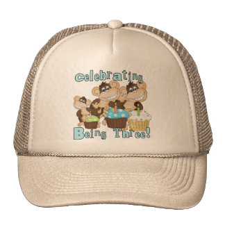 Blue Party Monkeys 3rd Birthday T-shirts and Gifts Trucker Hat