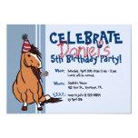 Blue Party Pony Boys 5th Birthday 5x7 Paper Invitation Card