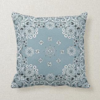 blue pasely bandana throw pillow