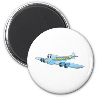 Blue Passenger Jet Cartoon 2 Inch Round Magnet