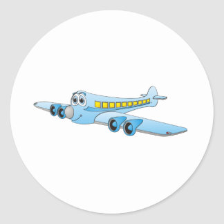 Blue Passenger Jet Cartoon Classic Round Sticker