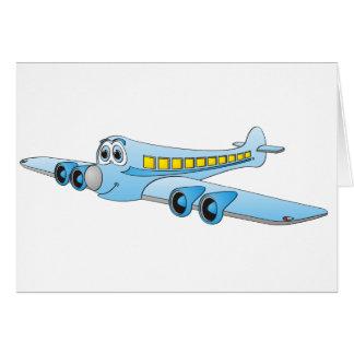 Blue Passenger Jet Cartoon Greeting Cards