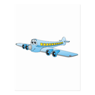 Blue Passenger Jet Cartoon Postcard