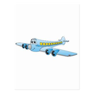 Blue Passenger Jet Cartoon Postcards