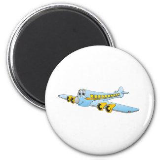 Blue Passenger Jet O Cartoon Magnet