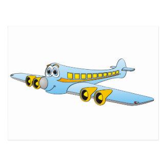 Blue Passenger Jet O Cartoon Postcard