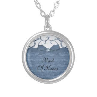 Blue Pastel & Diamond Swirls Bow & Ribbon Wedding Round Pendant Necklace